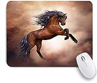 ECOMAOMI 可愛いマウスパッド 黒い馬 滑り止めゴムバッキングマウスパッドノートブックコンピュータマウスマット