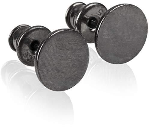 modabilé Pendientes de botón para damas redondo de plata de ley 925 (8mm) VIRGIN Aretes negro rodio plateado: Círculo, Pequeño & Plano + Estuche de regalo | Hecho en Europa