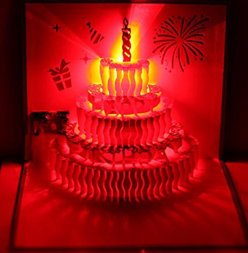 3D Pop Up Greeting Cards LED Light Happy Birthday Music Card Postcards (Birthday Cake)