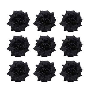 amosfun 50pcs flowers black halloween roses artificial silk garland fake rose flower- silk rose flower heads for hat clothes album-embellishment (black) silk flower arrangements