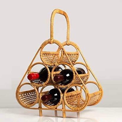 Stylischer Weinregal - Deko Weinständer - handgemacht kreativ - Weinregal - Weinregallager - Flaschenregal - Weinliebhaber - Flaschenhalter - Wein Regal - Deko (Rattan Hellbraun)