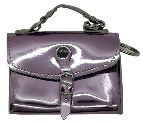 Lucy Shop Schlüsselanhänger, handgefertigt, echtes Leder, Geldbörse aus Leder, Auto-Fernbedienung, Schlüsselhalter, Herren und Damen, mit Reißverschluss (violett) – Made in Italy
