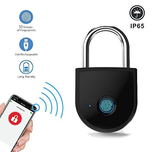 YCHBOS Smart APP Bluetooth/Fingerprint Unlocking Padlock, USB Rechargeable Anti-Theft Security Keyless Electronic Lock for Door Luggage Case
