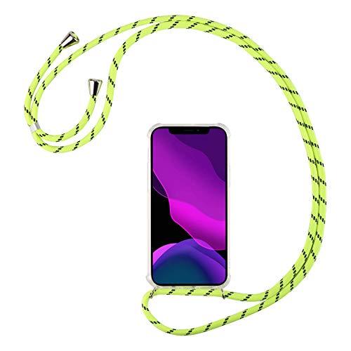 2ndSpring Funda con Cuerda Compatible con Huawei P40 Lite 5G/Nova 7SE,Colgante Collar Correa de Cuello Cadena Cordón,Verde Fluorescente