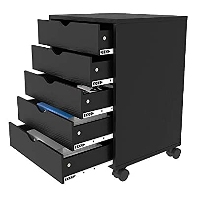 YITAHOME 5 Drawer Office Storage Cabinet, Mobile File Cabinet with Casters, Storage Organizer with Drawers Under Desk for Home Office