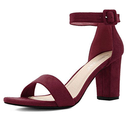 Allegra K Women's Chunky High Heel Ankle Strap Sandals (Size US 9) Burgundy