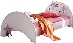 Jugendbett Sternchen inkl Matratze 90 * 200 lila weiß Kinderbett Jugendliege Bettliege Bett Holz Bettgestell Mädchen Jugendzimmer Kinderzimmer