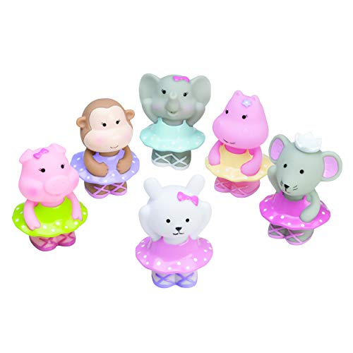 Best Elegant Baby 6 Piece Bath Time Fun Rubber Water Squirties, Ballerina Monkey, Elephant, Animal Squirt Toys