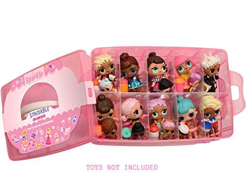 Sparkle Storage - LOL Storage Case Customizable Toy Adjustable Organizer Case Stackable 3 Tier - 30 Compartments…