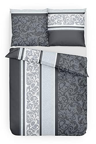 Träumschön Bettwäsche Biber Grau 4 teilig 135x200   Bettwäsche 135x200 4teilig Biber mit Paisley Design   Graue Bettwäsche aus 100% Baumwolle