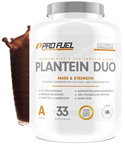 PLANTEIN DUO | Premium Protein-Mix auf pflanzlicher Basis | 100% Vegan Protein Powder & High Protein | Cremig & Lecker | Made in Germany | 1kg - (Schokolade)