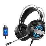 Bluetooth earphone Auriculares para Juegos montados en la Cabeza con micrófono Auriculares de Escritorio con Cable USB y micrófono