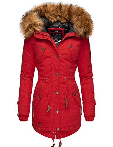 Marikoo Damen Wintermantel Winterparka mit abnehmbarem Kunstfell La Viva Prc Rot Gr. S