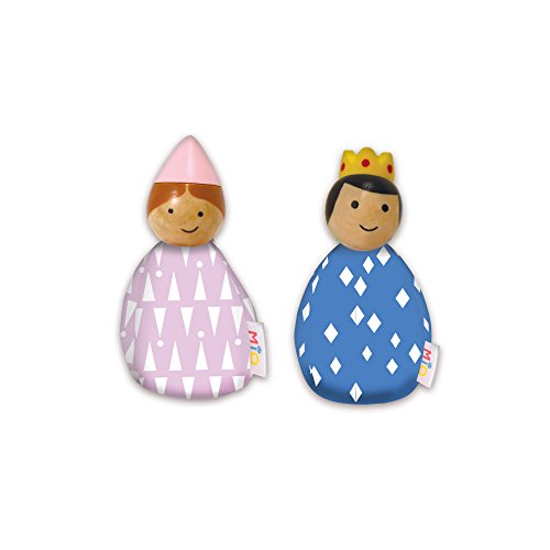 MiO Bean Bag Royal People Imaginative Play Character Peg Dolls - Montessori Style STEM Learning Wooden Building Accessory for 3 Years + Up by Manhattan Toy