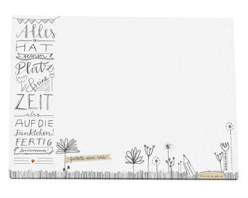 Eine der Guten Schreibtischunterlage A3 aus Papier zum Abreißen, weiß mit Punkteraster & Blumen Design, 30 x 42 cm, 25 Blatt Schreibunterlage Abreißblock, Recyclingpapier