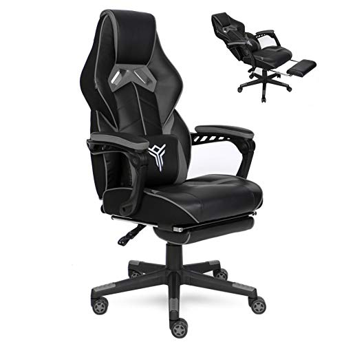 YOURLITEAMZ Racing Gaming Chair with Footrest and Massage Lumbar Pillow, Swivel Height Adjustable Reclining PU Leather Video Game Chair, E-Sports Gaming Chair Big and Tall (Grey)