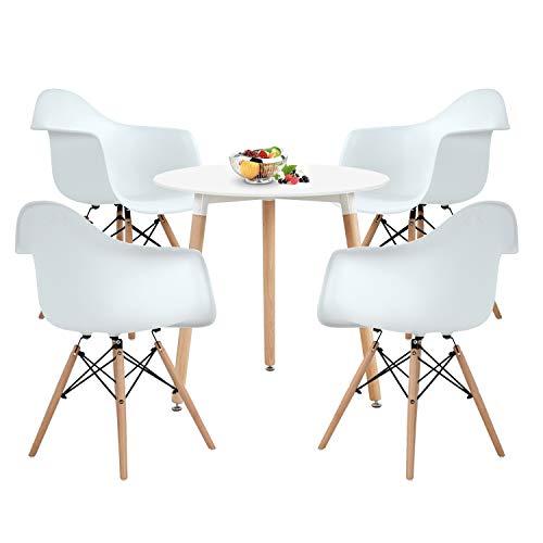 DORAFAIR Set aus Runder Küchentisch und 4 Skandinavischen Stühlen, für Küche Esszimmer Konferenzzimmer, Weißer Stuhl