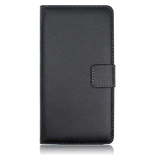Ambaiyi Flip Echt Ledertasche Handyhülle Brieftasche Hülle Schutzhülle für Huawei Honor 5C Hülle , schwarz - 4