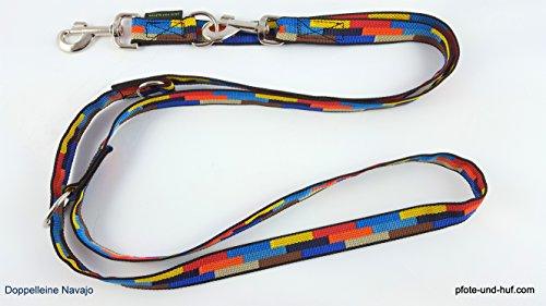 elropet Hundeleine Doppelleine Gurtband 25mm Navajo Umhängeleine V-Leine unsere Leinen müssen Nicht um die Welt Reisen (2,80m)