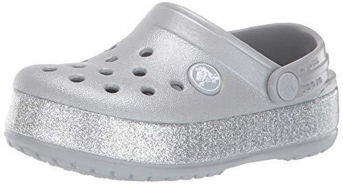 Crocs Crocband Glitter Clog K, Zapatos para Agua Niños Unisex, Silver, 28/29 EU