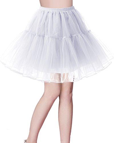 Bridesmay Enaguas Años 50 Vintage para Vestidos Faldas Cortas De Tul Mujer Cancan Tutu Rockabilly White XL