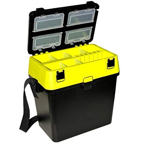 Prachtfisch Gerätekasten-Sitzkiepe Angelzubehör-Box mit Schultergurt - schwarz/neongelb