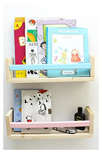 XXFFD Rosa Azul Montessori Wall Rack Bookshelf Baby Kids Room Decor regulador