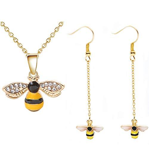 Set di gioielli da donna con ciondolo a forma di calabrone di cristallo, smaltato, a forma di ape, con ciondolo a forma di ape, orecchini a goccia a forma di animale