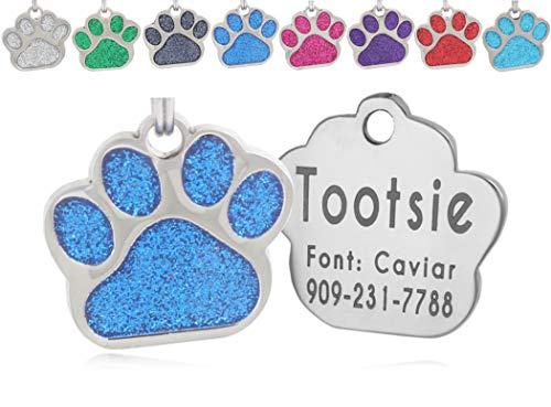 io tags Pet ID Tags, Personalized Dog Tags and Cat Tags, Custom Engraved, Easy to Read, Cute Glitter Paw Pet Tag (Blue)