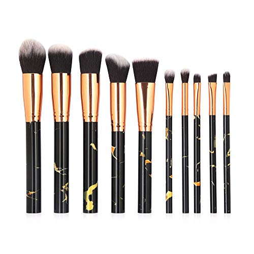WBXZAL-Pinceau de maquillage les cosmétiques brosse brosse 10 marbre outils de cosmétiques,black