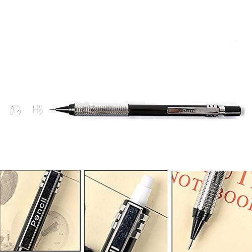 Vogueing Tool HB - Portaminas automático (0,3, 0,5, 0,7 y 0,9 mm, con borrador), negro