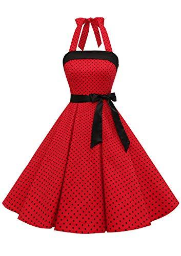 Timormode – Vestido de cóctel sexy, retro, vintage, para mujer, diseño de los años 40, 50 y 60, estilo Rockabilly, con escote B- Rouge Noir S S