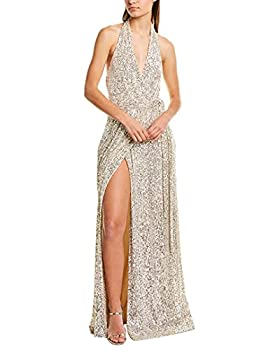 HALSTON Women s Sleeveless Halter Sequin WRAP Gown Silver Extra Large