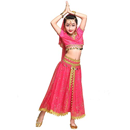 Arabian Nights Kostüm Mädchen Bollywood Bauchtanz Kleid Kinder Indian Princess Outfit Karneval Kleidung (M 105-130cm/41-51in, Rose-Rot)
