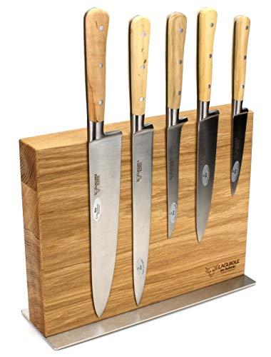 Laguiole en Aubrac - Messerblock aus Eiche - magnetisch - Kochmesser Set 5-teilig - Griff Buchsbaum Holz - Geschmiedete Qualität