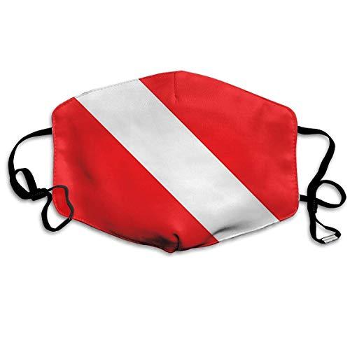 shifeiwanglu Unisex Mundmaske,Scuba Dive Flag Reusable Comfy Breathable Safety Outdoor Half Face Masks for Women Man White