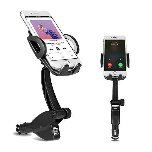 DELAM 車載ホルダー オートホールド式 シガーソケット付き携帯スタンド USBポートx2 スマホホルダー 360度回転可能 出力5V3A GPSスタンド iphone/Sony Xperia/Samsung Galaxy/Huawei/ASUS zen