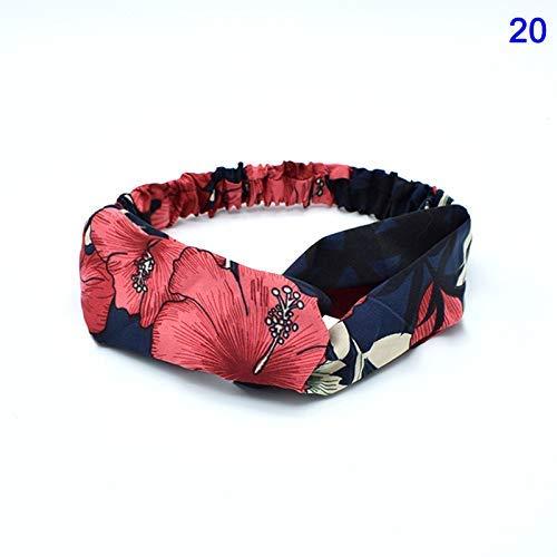 iSunday dames lentezomer kruis knoop haarband elastisch bloemenpatroon haaraccessoires