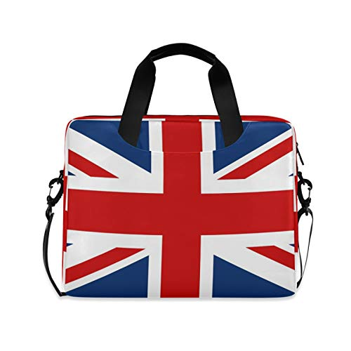 ALAZA UK British Flag Laptop Case Bag Sleeve Portable Crossbody Messenger Briefcase w/Strap Handle, 13 14 15.6 inch