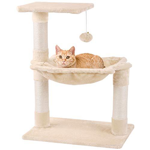Mcdear Árboles para Gatos Rascador para Gatos Sisal Plush con Pelota Hamaca 70cm Beige