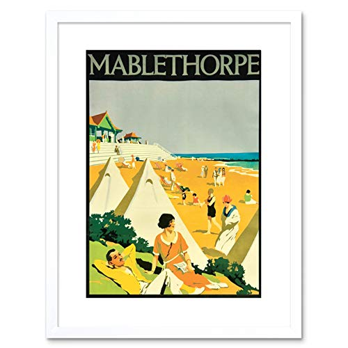 Wee Blue Coo TRAVEL MABLETHORPE ENGLAND KAST TENT BEACH ADVERT FRAMED PRINT F97X6822