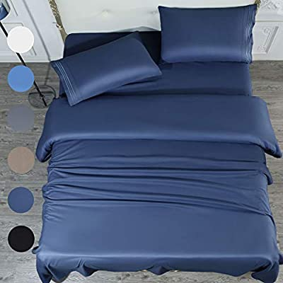 SONORO KATE Bed Sheet Set Super Soft Microfiber 1700 Thread Count Luxury Egyptian Sheets 16-Inch Deep Pocket?Wrinkle and Hypoallergenic-4 Piece (Navy Blue, Queen)