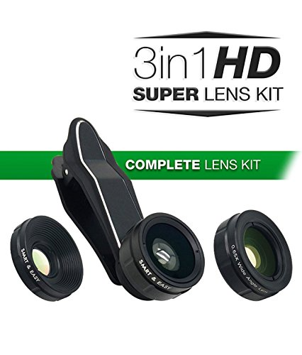 Cell Phone Camera Lenses - Macro Lens Kit - Wide Angle Lens Kit, Clip-On Cell Phone Camera Lenses for iPhone 7/6/5/4, Android/Samsung s7/s7 Edge/s6/s6 Edge Mobile Smartphone