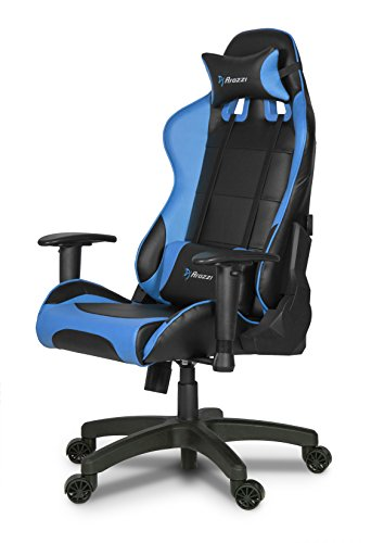 Arozzi Verona Junior Gaming Chair for Kids with High Backrest, Recliner, Swivel, Tilt, Rocker and Seat Height Adjustment, Lumbar and Headrest Pillows Included - Blue blue chair gaming