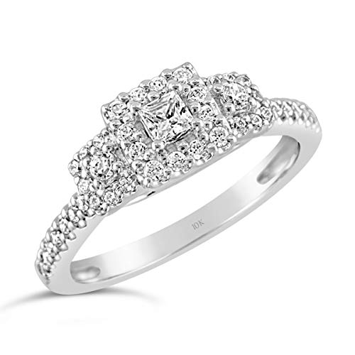 Brilliant Expressions 10K White Gold 3/8 Cttw Conflict Free Diamond Square Halo Three-Stone Engagement Ring (I-J Color, I2-I3 Clarity), Size 6