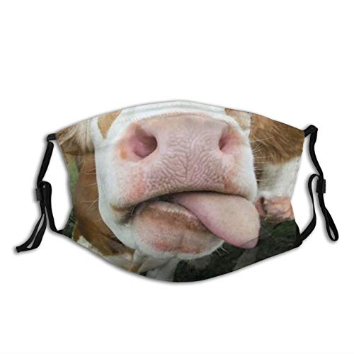 Cow Lover Funny Face Milk Pet Cute Animals Gifts With Tongue Funny Animal Mouth-Face Mask Balaclava, Washable&Reusable With 2 Pcs Filters, For Adult Women Men&Teens