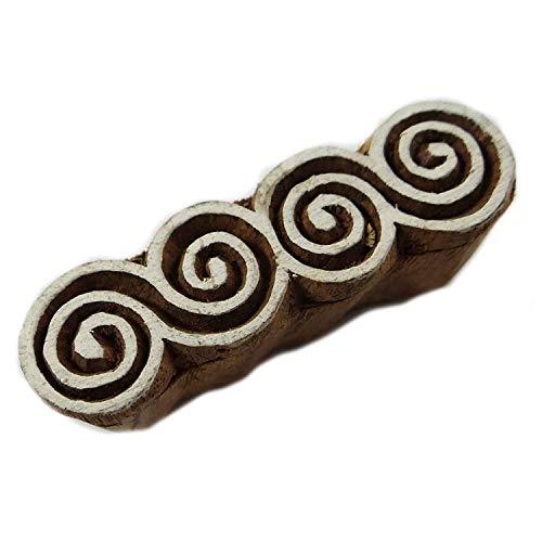 Unbekannt Knitwit Spiral-Muster-Block Hand Design Holzblock Textildruck auf Stoff-Stempel