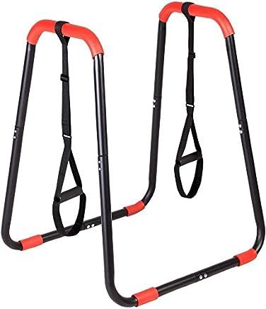 TecTake Power Station Fitness Rack Heimtrainer geeignet f/ür Liegest/ütze H/öhe 70cm Stabiler Rahmen aus Stahlrohr Beinlifts und Dips