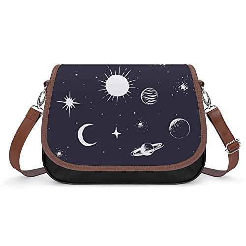 Xingruyun Bolsos Bandolera Para Mujer Planeta Espacial Bolsos De Hombro Cuero Shoulder Bag Grande Capacidad Cartera Para Escuela Viaje Oficina 31x22x11cm