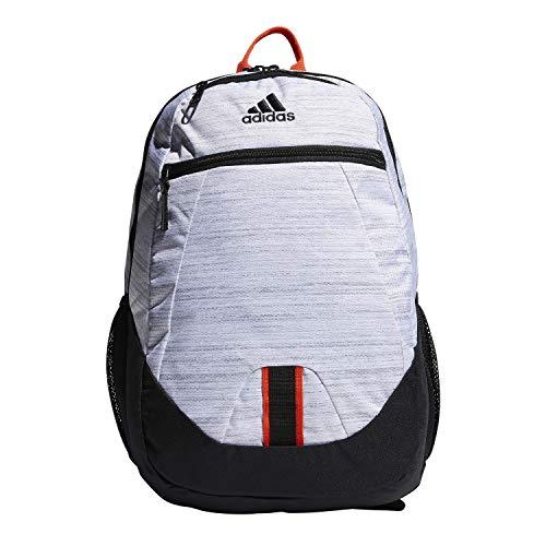 adidas Unisex Foundation Backpack, White Two Tone/Black/Active Orange, ONE SIZE